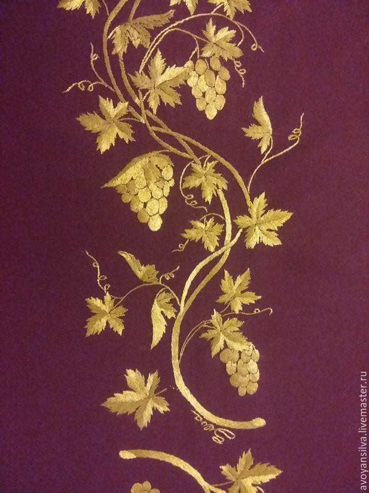 Вышивка виноградной лозы гладью