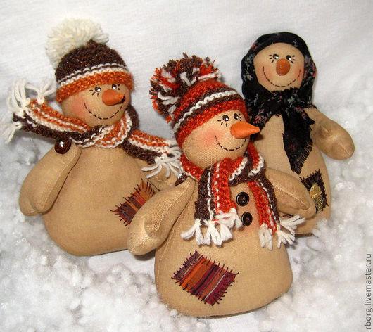 Ароматизированные куклы ручной работы. Ярмарка Мастеров - ручная работа. Купить Снеговик. Handmade. Коричневый, примитив, бязь