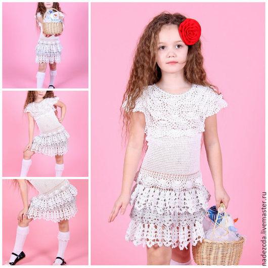 """Одежда для девочек, ручной работы. Ярмарка Мастеров - ручная работа. Купить Платье """"Снежинка"""". Handmade. Белый, белое платье"""