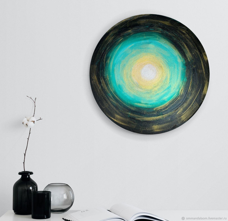 """Абстрактная картина """"Взгляд Земли на Солнце"""" d 40х2см, холст, Картины, Москва,  Фото №1"""