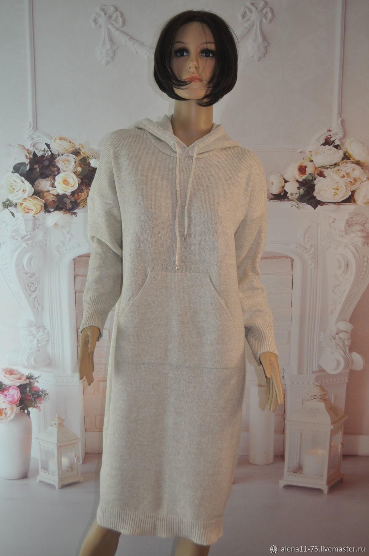 Knitted hoodie dress, 50-54p., half-wool, Dresses, Lipetsk,  Фото №1