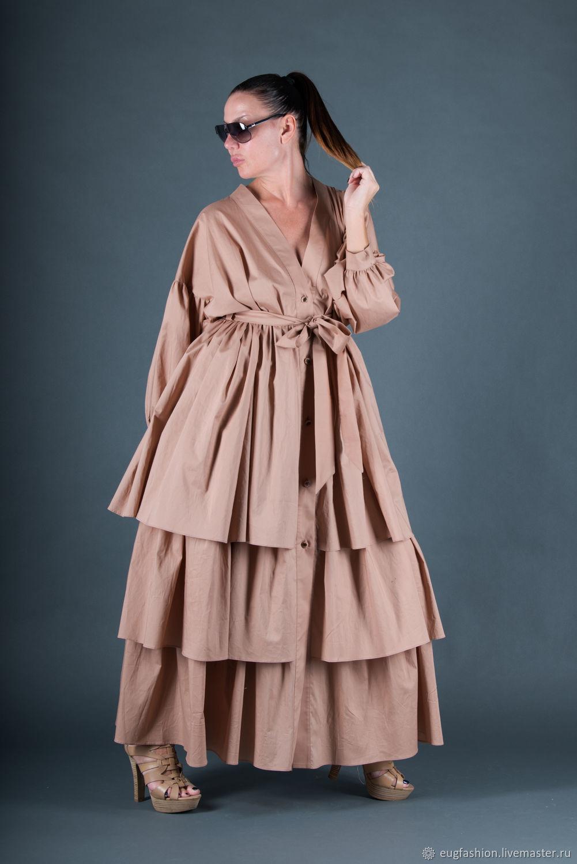 Beige, stylish cotton Kaftan dress - KA0174CT, Dresses, Sofia,  Фото №1