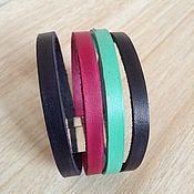 Украшения handmade. Livemaster - original item Leather cuff bracelet for women striped. Handmade.