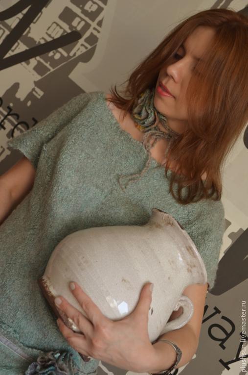 Платья ручной работы. Ярмарка Мастеров - ручная работа. Купить Валяное платье «Мятные розы». Handmade. Мятный, натуральный шёлк