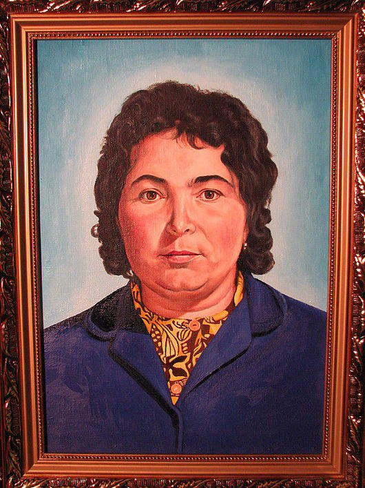 портрет для примера картина выполнена масляными красками на холсте.  ручная работа - холст, масло.  фото с фотоаппарата со вспышкой