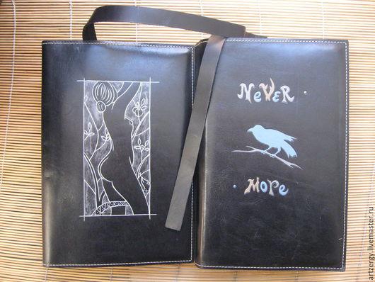 Персональные подарки ручной работы. Ярмарка Мастеров - ручная работа. Купить ЕВА, ВОРОН обложка для книги, кожаная. Handmade.