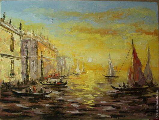 Город ручной работы. Ярмарка Мастеров - ручная работа. Купить Венеция на рассвете. Handmade. Разноцветный, картина, картина в подарок