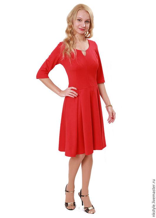 Платье красное, миди. NK Style. Интернет-магазин Ярмарка Мастеров. Однотонный, вискоза, полиэстер.
