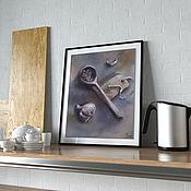 Картины и панно handmade. Livemaster - original item Painting still Life with garlic (gray beige lilac). Handmade.