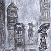"""Картины и панно ручной работы. Ярмарка Мастеров - ручная работа Картина """"Лондон..""""(графика,пастель). Handmade."""