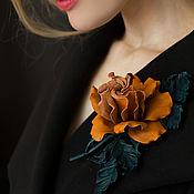 Украшения handmade. Livemaster - original item Brooch leather rose Vintage. the decoration of leather.. Handmade.