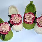 """Обувь ручной работы. Ярмарка Мастеров - ручная работа тапочки """" пиончики"""". Handmade."""