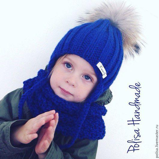 Шапки и шарфы ручной работы. Ярмарка Мастеров - ручная работа. Купить Детская шапка с помпоном + снуд. Handmade.