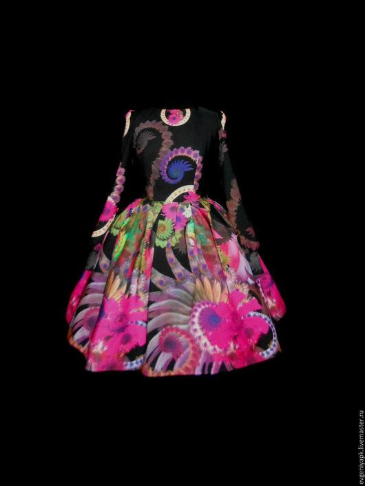 """Платья ручной работы. Ярмарка Мастеров - ручная работа. Купить Платье """"Ночное сияние"""" фуксия. Handmade. Комбинированный, рисунок"""