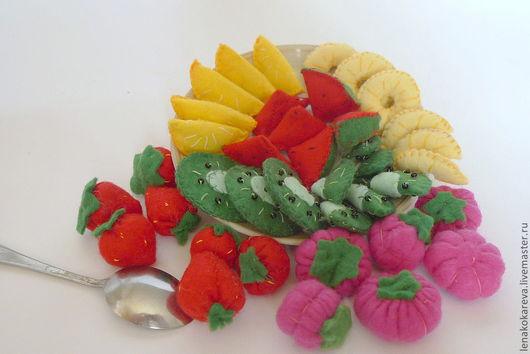 Еда ручной работы. Ярмарка Мастеров - ручная работа. Купить фрукты и ягоды из фетра. Handmade. Еда из фетра, связано крючком