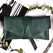 Сумки и аксессуары handmade. Livemaster - original item Leather clutch bag genuine leather Crazy Horse hand-stitched seam. Handmade.