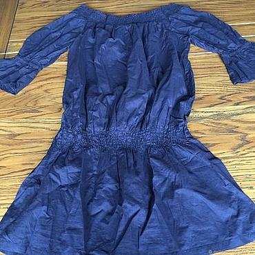 Одежда ручной работы. Ярмарка Мастеров - ручная работа Блуза из органического нежного хлопка васильково - синяя. Handmade.