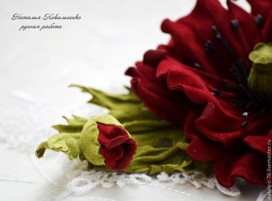 """Броши ручной работы. Ярмарка Мастеров - ручная работа. Купить Брошь из замши """"МАК"""".. Handmade. Бордовый, цветы, брошь-цветок"""