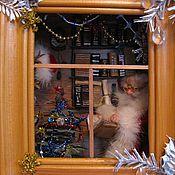 """Куклы и игрушки ручной работы. Ярмарка Мастеров - ручная работа Новогодняя композиция """"Дед Мороз читает карту"""". Handmade."""