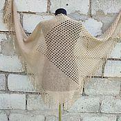 Аксессуары handmade. Livemaster - original item Openwork knitted shawl with a fringe of camel wool. Handmade.