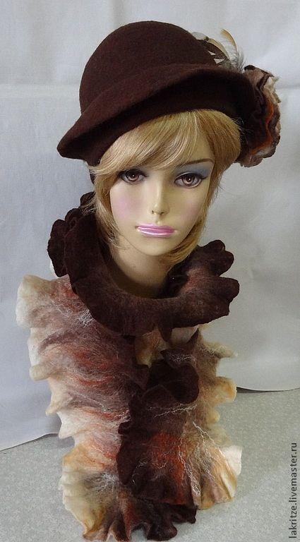 """Шляпы ручной работы. Ярмарка Мастеров - ручная работа. Купить Комплект """"Благородный коричневый"""".. Handmade. Коричневый, натуральные ткани"""
