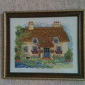 """Картины и панно ручной работы. Ярмарка Мастеров - ручная работа Вышивка """"Уютный домик"""". Handmade."""