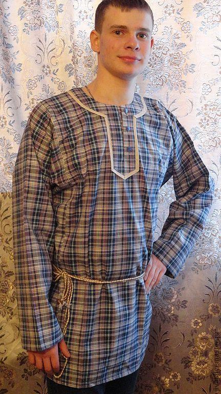 Этническая одежда ручной работы. Ярмарка Мастеров - ручная работа. Купить мужская рубашка Повседневная. Handmade. Тёмно-синий