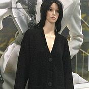 Одежда ручной работы. Ярмарка Мастеров - ручная работа Пальто - кардиган вязаное черное. Handmade.