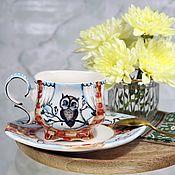 Посуда handmade. Livemaster - original item Pair of porcelain coffee