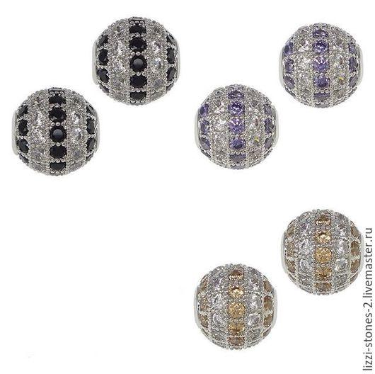 Бусина шар 2-хцветная 10 мм серебро беж, сирень и черный (Milano) Евгения (Lizzi-stones-2)