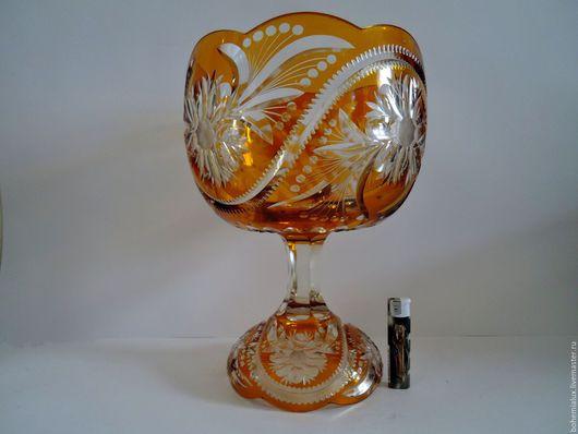 Винтажные предметы интерьера. Ярмарка Мастеров - ручная работа. Купить Редкость!!! 2 вазы в одной. Желтое медовое янтарное стекло, резьба. Handmade.