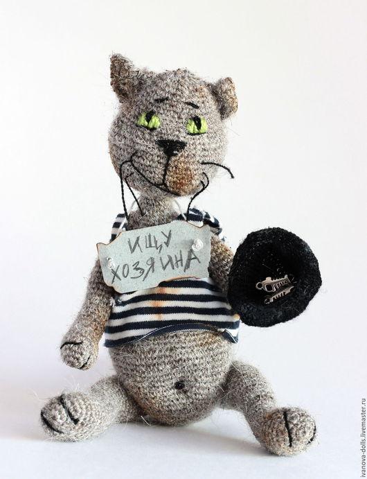 Игрушки животные, ручной работы. Ярмарка Мастеров - ручная работа. Купить Игрушка вязаная кот. Ищу хозяина. Handmade. Серый
