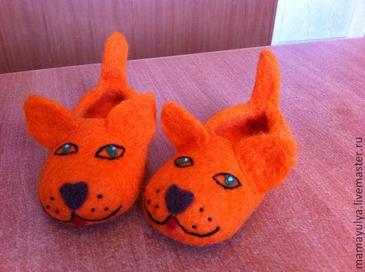 """Обувь ручной работы. Ярмарка Мастеров - ручная работа. Купить тапочки детские валяные """"Кисули-рыжули"""". Handmade. Оранжевый, котята"""