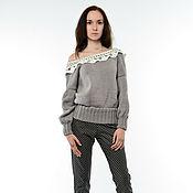 Одежда ручной работы. Ярмарка Мастеров - ручная работа Серый свитер с ажурным воротничком. Handmade.