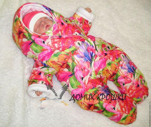 """Для новорожденных, ручной работы. Ярмарка Мастеров - ручная работа. Купить Комбинезон-конверт для новорожденного """"Розовый фламинго"""". Handmade. Розовый"""