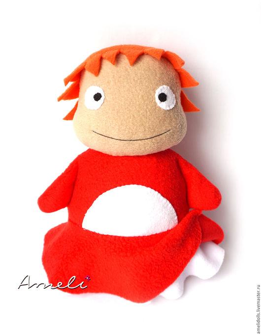 """Сказочные персонажи ручной работы. Ярмарка Мастеров - ручная работа. Купить """"Рыбка Поньё"""" мягкая игрушка. Handmade. Ярко-красный"""