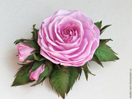 Заколки ручной работы. Ярмарка Мастеров - ручная работа. Купить Зажим для волос с пышной розовой розой и бутонами. Handmade.