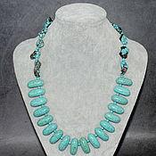 Украшения handmade. Livemaster - original item Author`s necklace made of natural turquoise and turkvenite. Handmade.