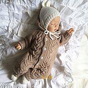 Работы для детей, handmade. Livemaster - original item Knitted caramel jumpsuit. Handmade.