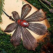 Украшения ручной работы. Ярмарка Мастеров - ручная работа Кулон с листом каштана и яшмой. Handmade.