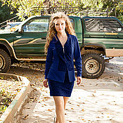 Одежда handmade. Livemaster - original item Novelty - Costume - jacket and straight skirt with slit - dark blue. Handmade.