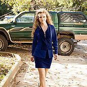 Одежда ручной работы. Ярмарка Мастеров - ручная работа Новинка - Костюм - пиджак и прямая юбка со шлицей - темно-синий. Handmade.