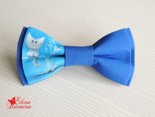 Галстуки, бабочки ручной работы. Ярмарка Мастеров - ручная работа. Купить Бабочка галстук с чеширским котом, хлопок. Handmade. Синий