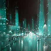 Картины и панно handmade. Livemaster - original item Oil Painting. Glass City. Handmade.