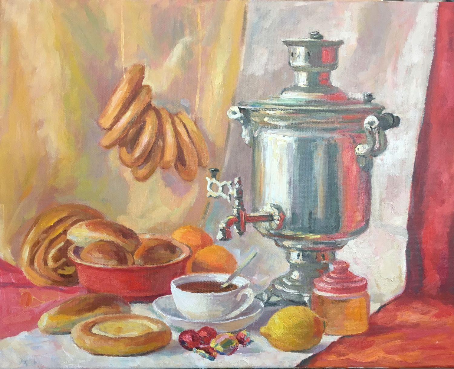Still life with a samovar. Painting, oil on canvas. Painting , Pictures, Torzhok,  Фото №1