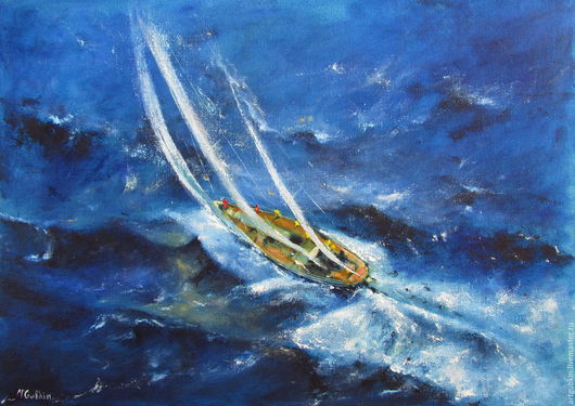 Landscape handmade. Livemaster - handmade. Buy Yachting V.White, water, sea ​​wave, oil paint