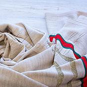 Аксессуары handmade. Livemaster - original item Beige Italian knitted scarf made of Gucci fabric. Handmade.
