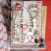 Открытки ручной работы. Ярмарка Мастеров - ручная работа Новогодняя открытка Без пяти двенадцать. Handmade.