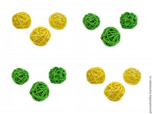 Материалы для флористики ручной работы. Ярмарка Мастеров - ручная работа. Купить Шар из ротанга 3 см. Handmade. Ярко-зелёный