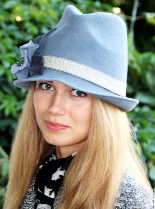 Шляпы ручной работы. Ярмарка Мастеров - ручная работа. Купить Шляпка из велюра.. Handmade. Голубой, шляпка женская, шляпка с цветами